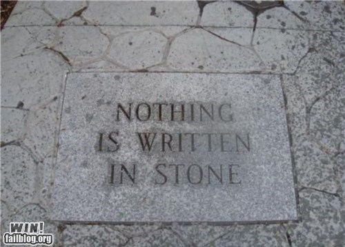 engraving irony message permanent sign stone