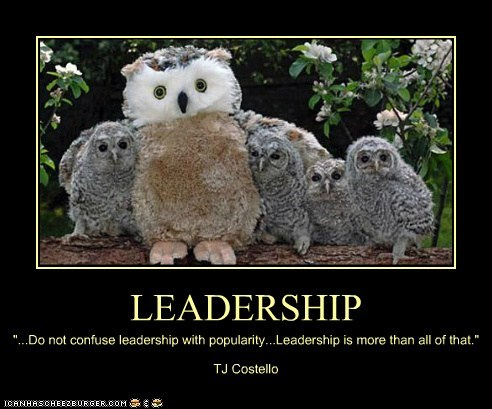 "LEADERSHIP ""...Do not confuse leadership with popularity...Leadership is more than all of that."" TJ Costello"