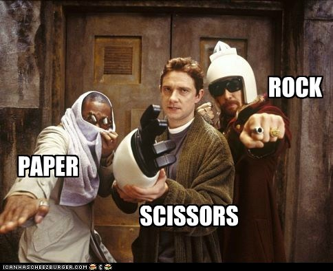 arthur dent,ford prefect,Hitchhikers Guide To the Galaxy,Martin Freeman,Mos Def,rock paper scissors,Sam Rockwell,zaphod beeblebrox