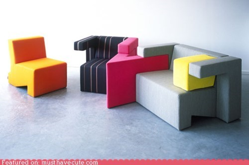 bright chair couch furniture geometric modern tetris - 5744078592