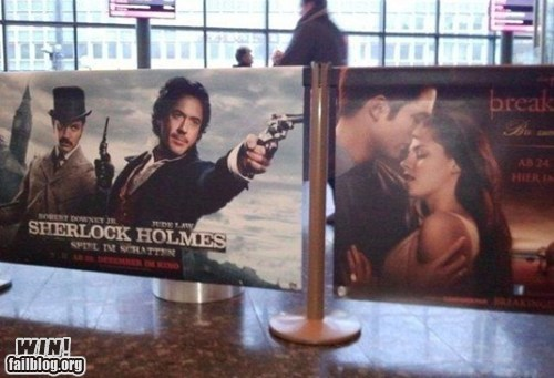 g rated juxtaposition Movie movie theater placement poster sherlock holmes twilight win