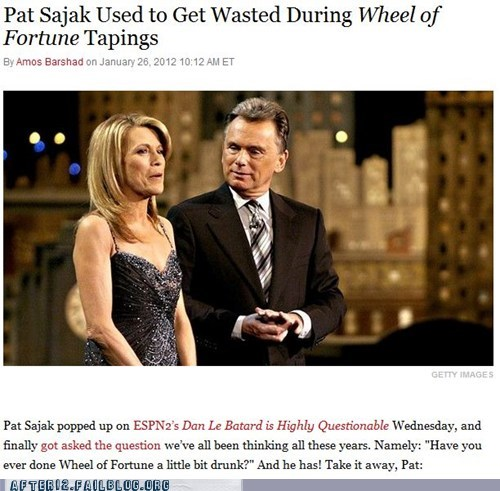 booze news drinking drunk game show pat sajak vanna white wheel of fortune