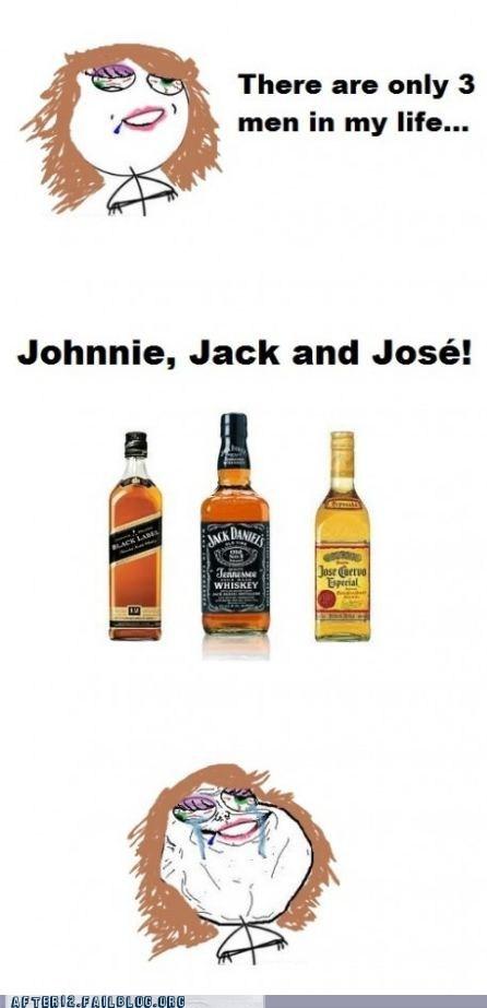 booze drinking forever alone jack daniels johnnie walker jose cuervo rage comic - 5747129600