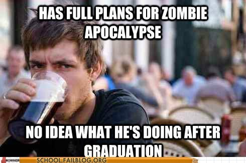 graduation Hall of Fame lazy college life goals macro meme senior zombie apocalypse - 5747339520