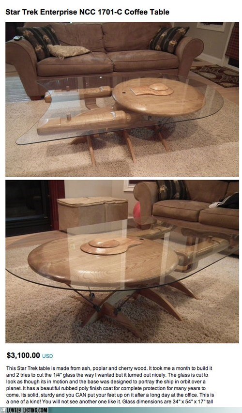 best of the week coffee table enterprise glass Star Trek wood