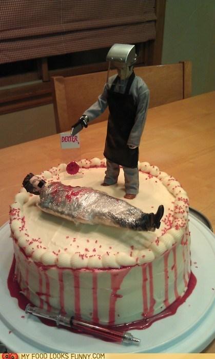 Blood,cake,Dexter,figurines,frosting,murderer