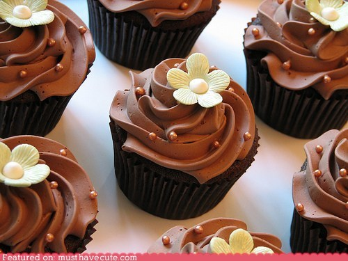 chocolate cupcakes epicute Flower frosting sprinkles - 5748082688