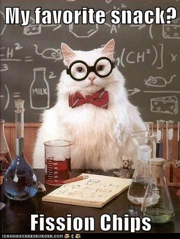 Cats,Chemistry,chemistry cat,fish,fish and chips,fission,puns,snacks