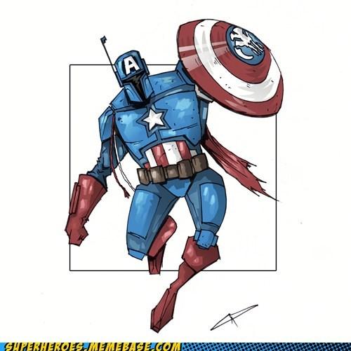 Awesome Art boba fett captain america star wars - 5748840192