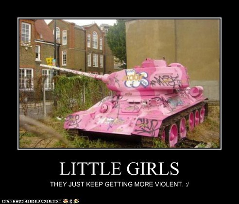 girls,little girls,military,pink,Pundit Kitchen,sugar and spice,tank,violent