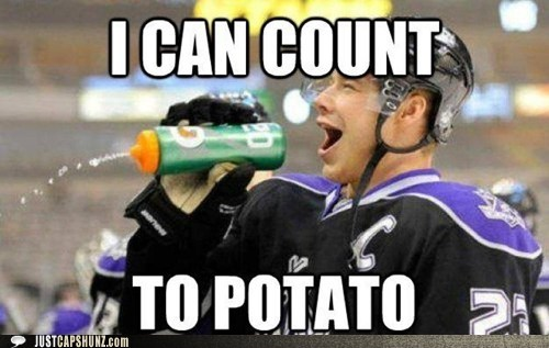 athlete,athletics,counting,hockey,i can count to potato,la kings,math,potato,sports,Up Next in Sports,water bottle