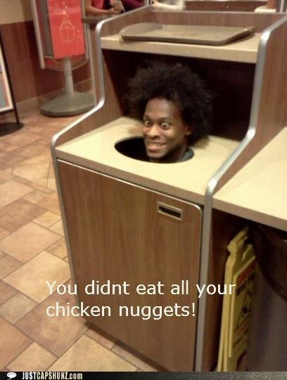 chicken nuggets,funny face,garbage can,guy in a garbage can,random guy,wat,wtf,wut