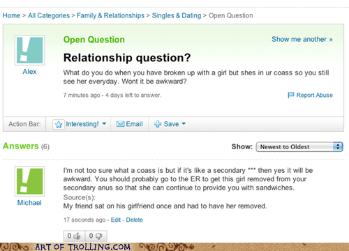 coass,relationships,wtf,Yahoo Answer Fails
