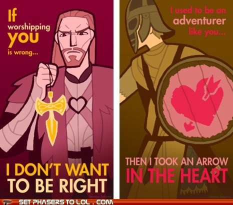 adventurer arrow in the knee heart Skyrim talos the elder scrolls valentines Valentines day - 5752243456