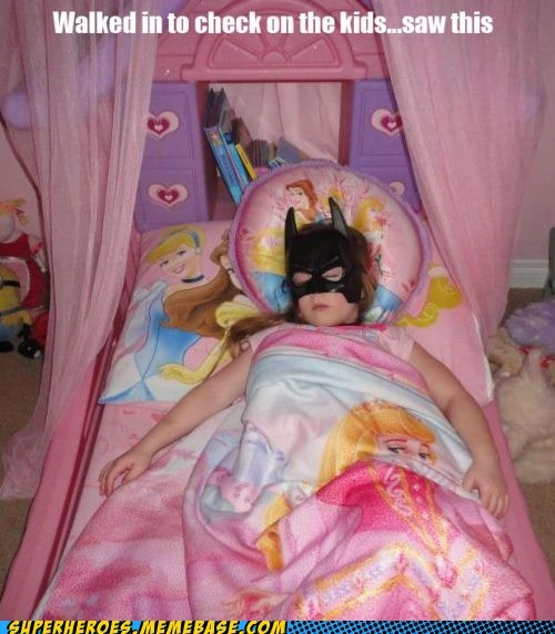 batgirl,cute,daughter,kid,sleeping,Super Costume,training