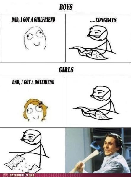 american psycho,axe,boyfriend,christian bale,dad,girlfriend,rage comic