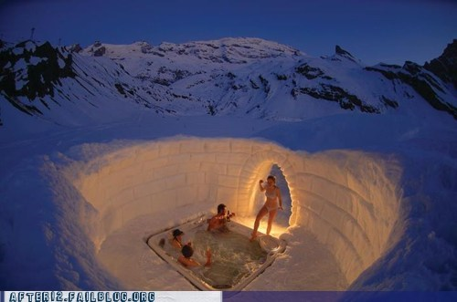 ice igloo pool party snow tundra winter