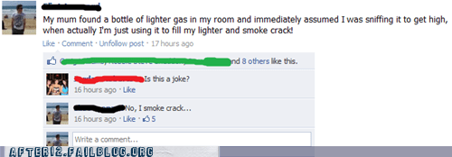 coke crack drugs facebook gas status update