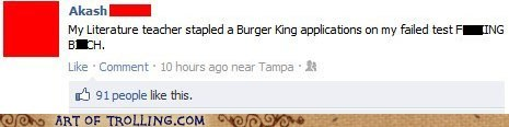 burger king,facebook,test,truancy story