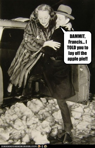 DAMMIT, Francis... I TOLD you to lay off the apple pie!!