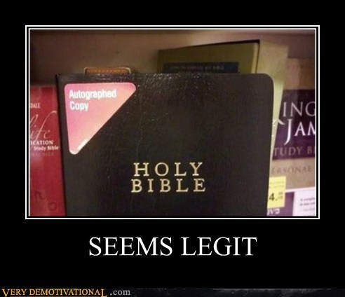 autographed,bible,hilarious,seems legit