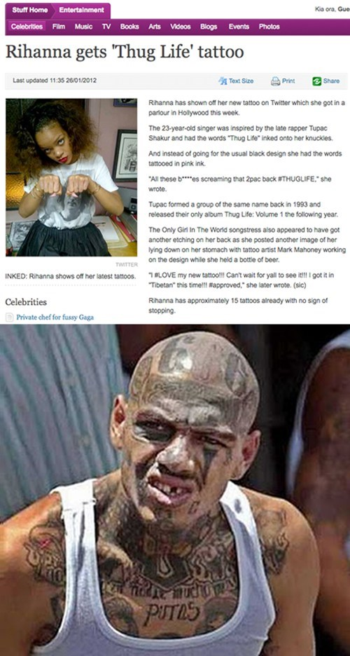 bad musicians rihanna thug life thug life tattoo - 5760793600