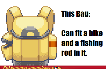 backpack,bicycle,fishing rod,infinite,Memes,Pokémon