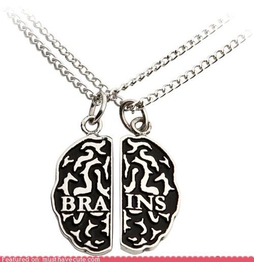 best of the week,brains,chain,friendship,halves,necklace,pendant,set,silver,zombie