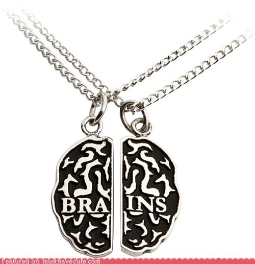 best of the week brains chain friendship halves necklace pendant set silver zombie - 5762510592