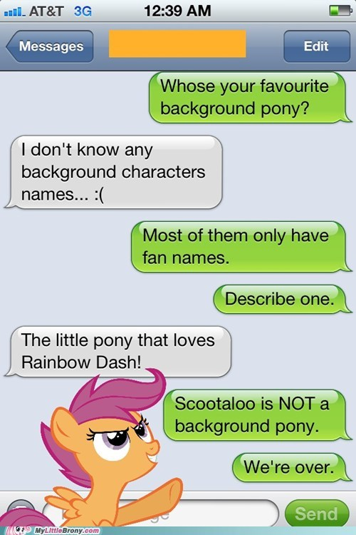 chicken,favorite background pony,IRL,Scootaloo,sms,text