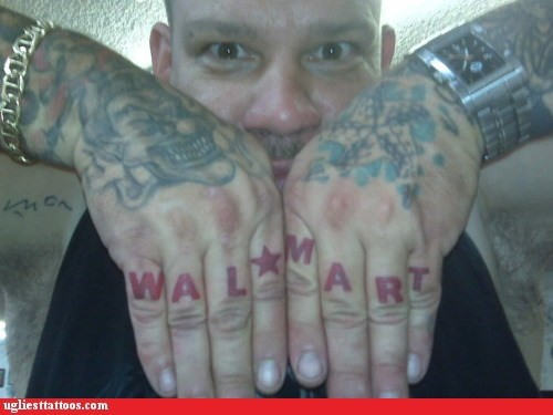 brand loyalty business g rated knuckle tats store Ugliest Tattoos wal mart - 5763933184