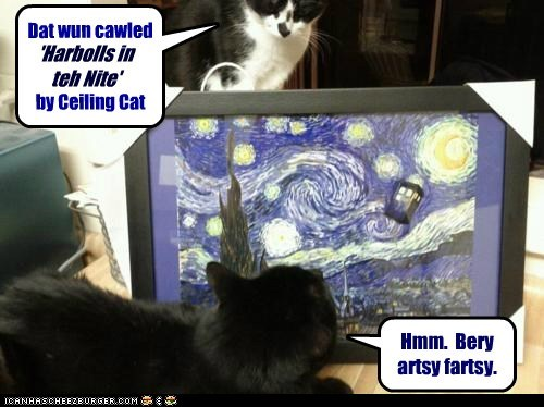 starry night,art,ceiling cat,painting,funny,tardis