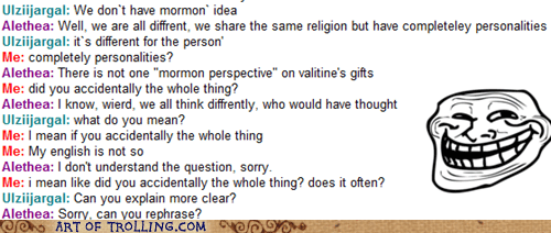 accidentally the whole,grammar,Mormon Chat,personality