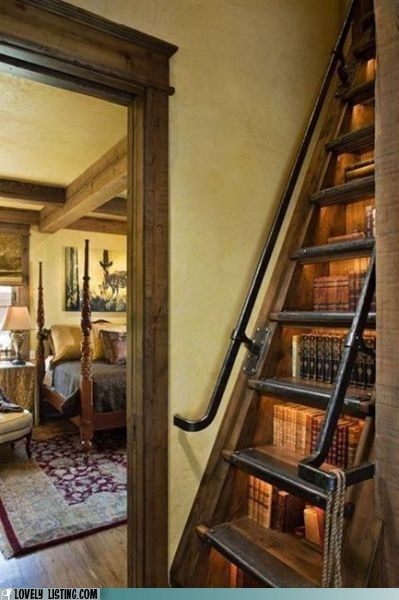 bookcase dangerous ladder precarious stairs - 5764790784