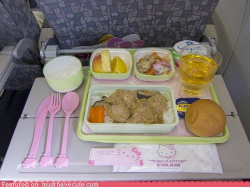 airline,airplane,epicute,hello kitty,meal