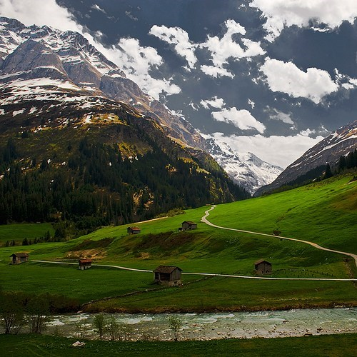 clouds,europe,getaways,mountains,Switzerland,valley