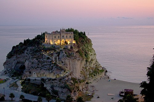 beautiful,cliff,europe,getaways,Italy,ocean,sunset,tropea