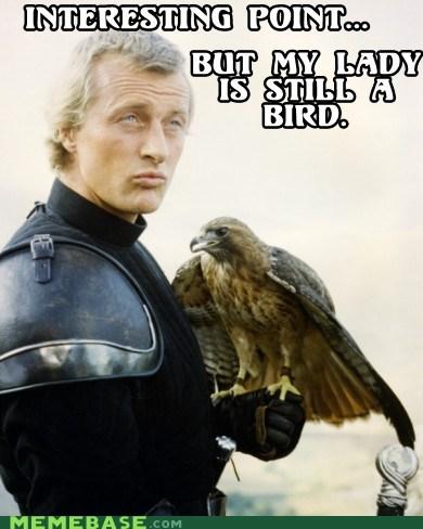 argument,bird,ladyhawke,matthew broderick,Memes