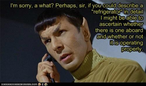 Leonard Nimoy,perhaps,prank calls,refrigerator,ruin,running,Spock