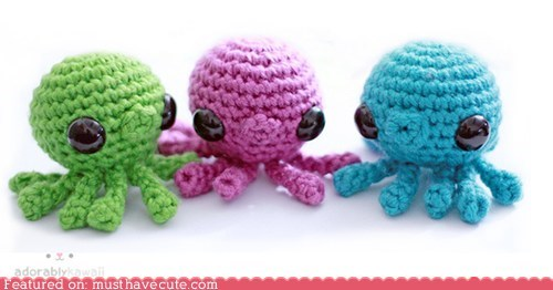 Amigurumi colorful Crocheted octopus tiny - 5766677760