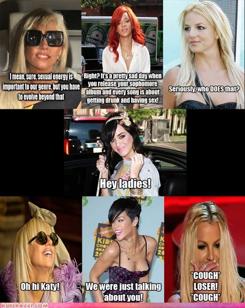 britney spears,celeb,funny,katy perry,lady gaga,Music,rihanna