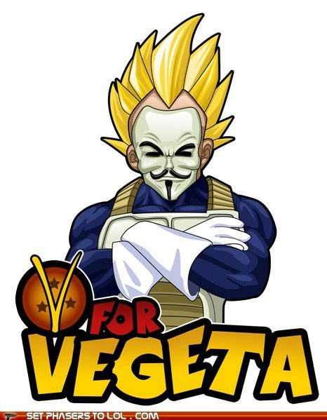 dragonball z,Guy Fawkes Mask,v for vendetta,vegeta