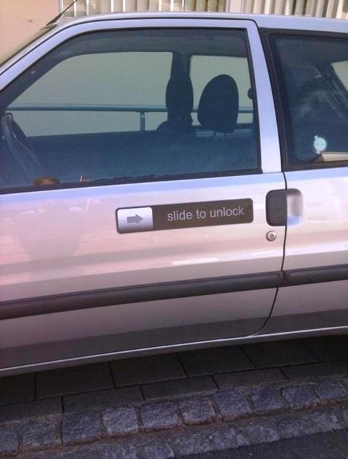 car door hacked irl slide to unlock