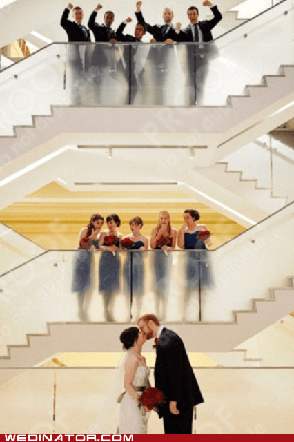 bride,bridesmaids,funny wedding photos,groom,Groomsmen,KISS,stairs