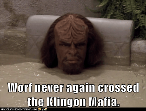 cross,klingon,mafia,Michael Dorn,never again,Star Trek,Worf