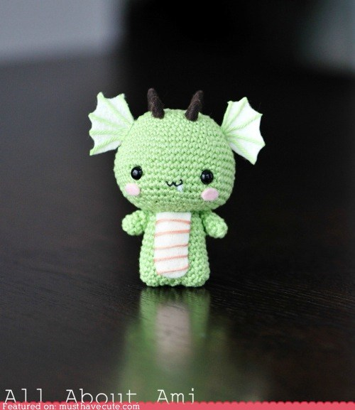 Amigurumi Crocheted dragon horns wings