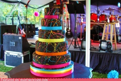 black cake crazy epicute fondant neon paint splatter