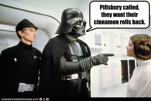 carrie fisher,cinamon rolls,darth vader,pillsburty,Princess Leia,star wars