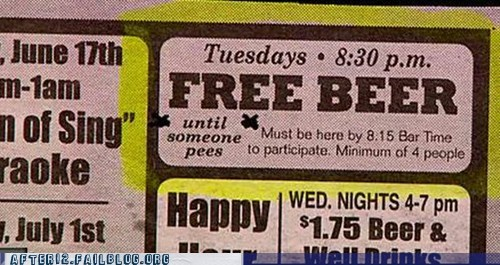 Ad beer drinking free beer peeing - 5770294784