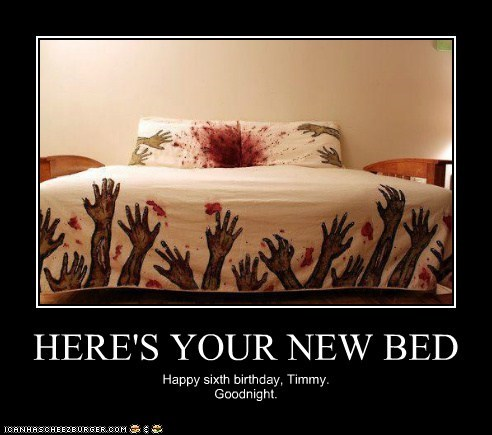 bed birthday Blood goodnight scary zombie - 5770614272